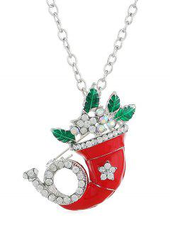 Christmas Rhinestone Horn Party Necklace - Silver