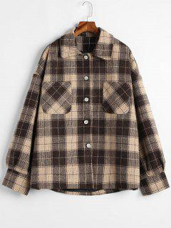 Button Up Wool Blend Plaid Coat - Coffee S