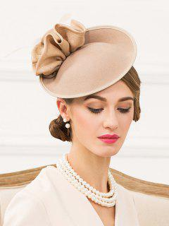 Floral Solid Color Pillbox Hat - Champagne