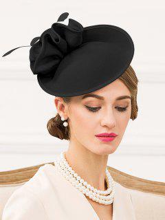 Floral Solid Color Pillbox Hat - Black