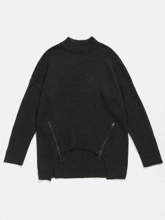 Zipper Embellished High Low Hem Sweater - Black Xl
