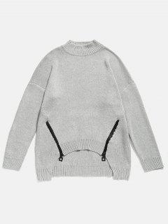Zipper Embellished High Low Hem Sweater - Gray M