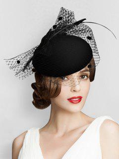 Bowknot Leopard Mesh British Hat - Black