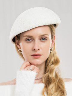 Winter Solid Color Woolen Beret - White
