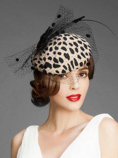 Bowknot Leopard Mesh British Hat - Leopard