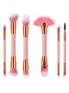 Cosmetic 6Pcs Double Ended Fiber Hair Travel Makeup Brush Set - Pink