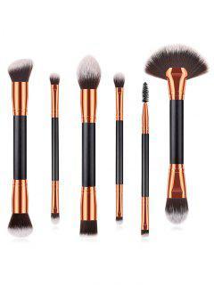 Cosmetic 6Pcs Double Ended Fiber Hair Travel Makeup Brush Set - Black