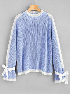 Mock Neck Two Tone Chunky Sweater - Day Sky Blue