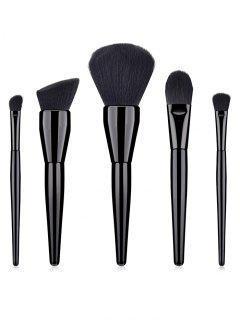 5Pcs Wooden Handles Eyeshadow Blush Liquid Foundation Brush Set - Black