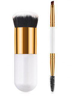 2Pcs Synthetic Fiber Hair Double Ended Makeup Brush Set - White