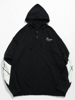 Diamond Pattern Hooded Sweater - Black Xl