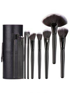 12 Pcs Ultra Soft Wooden Handles Travel Makeup Brush With Brush Cylinder - Black Regular