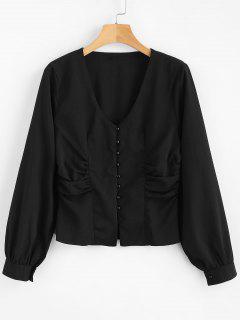 Ruched Button Up Blouse - Black L