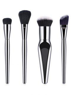 4Pcs Ultra Soft Fiber Hair Blush Liquid Foundation Brush Set - Silver