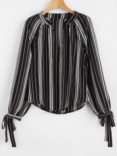 Tie Cuffs Striped Blouse - Black L
