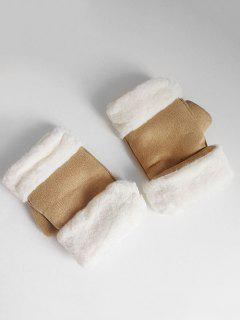 Solid Color Fuzzy Winter Gloves - Camel Brown