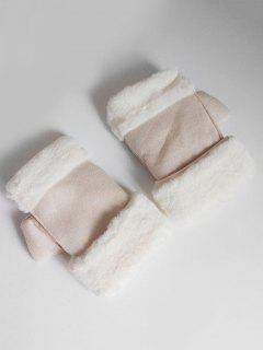 Solid Color Fuzzy Winter Gloves - Beige
