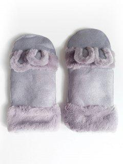 Winter Solid Color Fuzzy Mitten Gloves - Blue Gray
