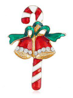 Rhinestone Christmas Bell Cane Brooch - Multi