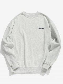 Casual Printed Drop Shoulder Sweatshirt - Light Gray M