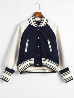 PU Leather Panel Snap Button Baseball Jacket - Midnight Blue Xl