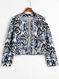 Printed Beaded Embroidered Quilted Jacket - Multi S