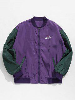 Hit Color Zipper Embellished Jacket - Purple Xl