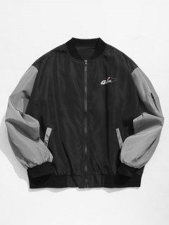 Hit Color Zipper Embellished Jacket - Black L