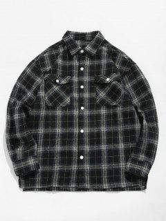 Plaid Side Split Shirt - Black L