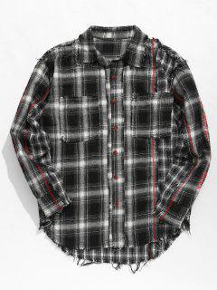 Tassels Plaid Patchwork Shirt - Black M