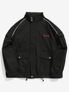 Zip Up Letter Embroidery Cargo Jacket - Black L
