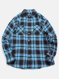 Chemise à Manches Convertibles à Carreaux - Bleu Profond L