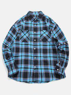 Plaid Convertible Sleeve Shirt - Deep Blue L