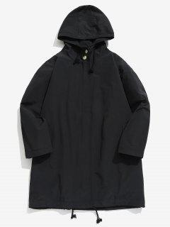 Zip Up Hooded Trench Coat - Black Xl