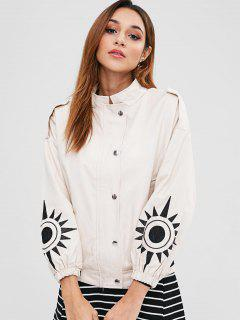 Embroidered Sleeve Twill Jacket - Blanched Almond M