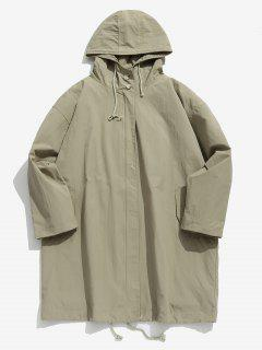 Zip Up Hooded Trench Coat - Light Khaki Xl