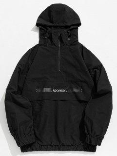 Half Zip Kangaroo Pocket Letter Hooded Jacket - Black M