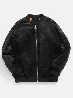 Letter Embroidery Padding Velvet Coat - Black M