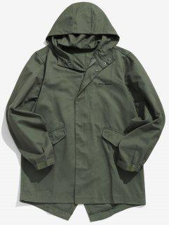 High Low Hem Hooded Coat - Army Green L
