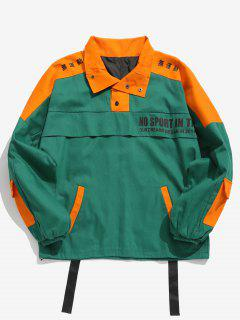 Color Block Multi Pockets Embellished Coat - Green L