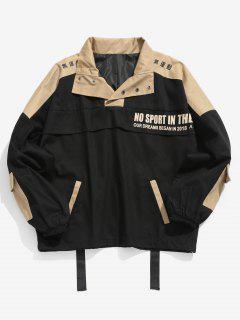 Color Block Multi Pockets Embellished Coat - Black Xl