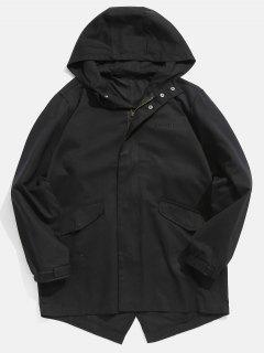 Manteau à Capuche à Ourlet Haut Bas - Noir 3xl