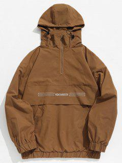 Half Zip Kangaroo Pocket Letter Hooded Jacket - Brown Xl
