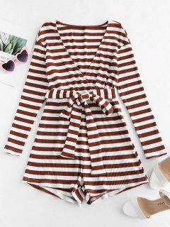 ZAFUL Striped Belted Wide Leg Romper - Deep Brown M