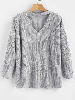 Chunky Knit Plain Keyhole Sweater - Light Gray
