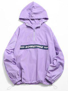Letter Print Half Zip Hoodie - Medium Purple Xl
