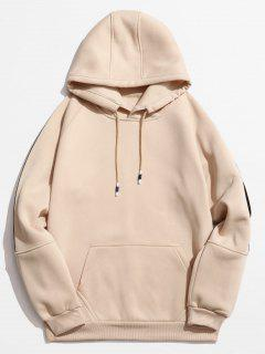 Rinbbon Splicing Raglan Sleeve Hoodie - Khaki M