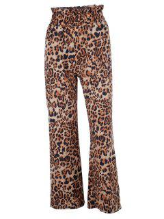 Pantalones De Leopardo De Cintura Con Volantes - Leopardo L