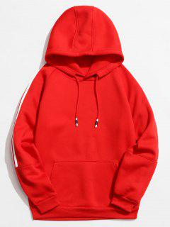 Rinbbon Splicing Raglan Sleeve Hoodie - Red Xs