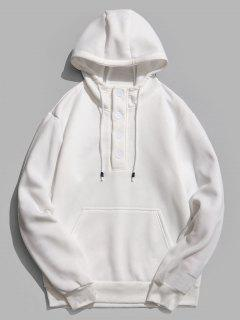 Buttons Embellished Fleece Hoodie - White M